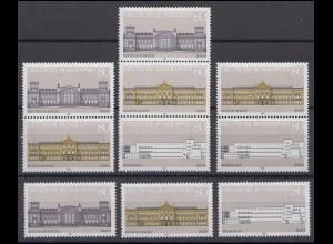 1287-1289 Block 20 Demokratie - Gebäude 1986, 3 ZD + 3 Ezm, Zusammendruck-Set **