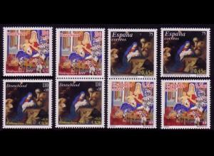 2226-2227 aus Block 56I Weihnachten 2000, 2 Zusammendrucke und 4 Einzelmarken **