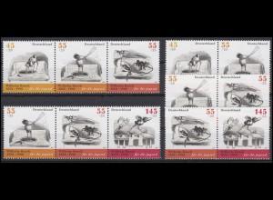2606-2609 aus Block 71 Wilhelm Busch, 6 ZD + 4 Einzelmarken Zusammendruck-Set **