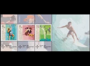 HBl. 56 Neue Olympische Sportarten: Zusammendruck, UNGEFALTET mit 3 Marken **