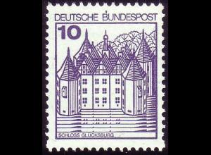 913AI Burgen und Schlösser 10 Pf Glücksburg, NEUE Fluoreszenz, postfrisch **