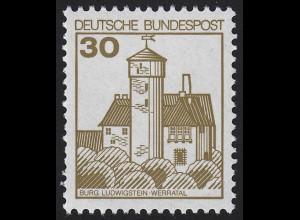 914AII Burgen und Schlösser 30 Pf Ludwigstein, ** LETTERSET