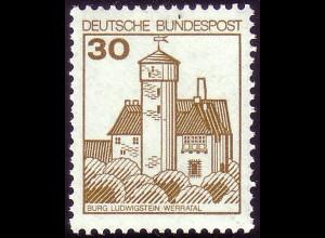 914AI Burgen und Schlösser 30 Pf Ludwigstein, NEUE Fluoreszenz, postfrisch **