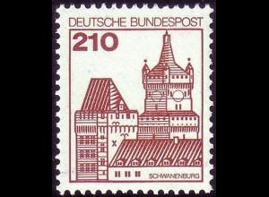 998 Burgen und Schlösser 210 Pf Schwanenburg, ALTE Fluoreszenz, postfrisch **