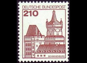 998 Burgen und Schlösser 210 Pf Schwanenburg, NEUE Fluoreszenz, postfrisch **