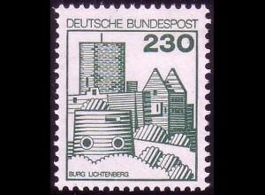999 Burgen und Schlösser 230 Pf Lichtenberg, ALTE Fluoreszenz, postfrisch **
