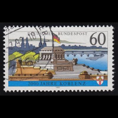 1583y Koblenz, mit Fluoreszenz, gestempelt