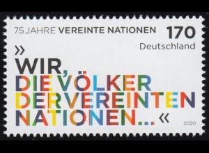3549 Jubiläum 75 Jahre UNO Vereinte Nationen, ** postfrisch