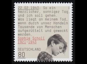 3606 Sophie Scholl - Widerstandsgruppe Weiße Rose, ** postfrisch