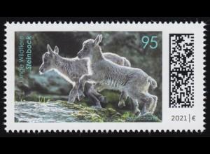 3609 Junge Wildtiere: Steinbock, nassklebend, ** postfrisch