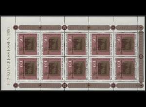 1065 Kleinbogen FIP 1980 - mit Überbreite rechts, **