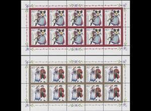 1757-1761 Deutsche Trachten - fünf 10er-Bogen komplett postfrisch **