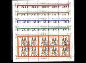 1757-1761 Deutsche Trachten, fünf 10er-Bogen ESSt