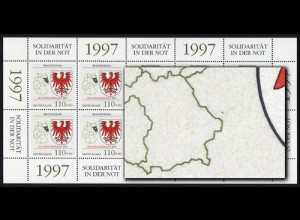 1941 Hochwasser - 10er-Bogen PLF schwarzer Punkt rechts neben Bayern, Feld 6 **