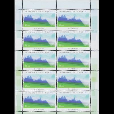 2231 Umweltschutz Internationales Jahr der Berge 2002 - 10er-Bogen ** postfrisch