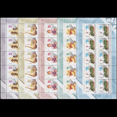 2260-2264 Jugend 2002 Kinderspielzeug - 10er-Bogen-Satz ** postfrisch