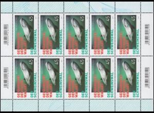3436 Gefährdete deutsche Walart: Schweinswal - 10er-Bogen ** postfrisch