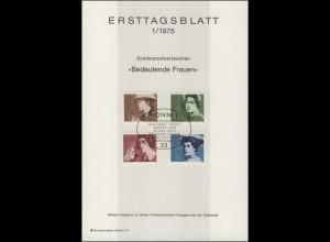 Ersttagsblätter ETB Bund Jahrgang 1975 Nr. 1 - 24 komplett