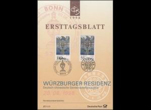 ETB 27+27a/1998 UNESCO-Kulturerbe, Würzburger Residenz und Chengde