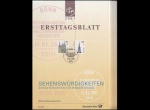 Ersttagsblätter ETB Bund Jahrgang 2001 Nr. 1 - 49 komplett
