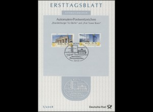ETB S/2008 Automatenmarken, Brandenburger Tor 0,55€ / Post Tower Bonn 0,55€