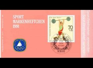 Sport 1991 Gewichtheben 70 Pf, 6x1499, ESSt Bonn