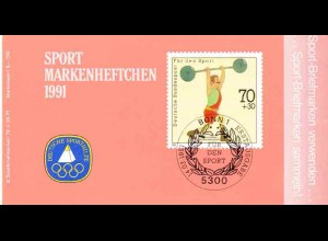 Sport 1991 Gewichtheben 70 Pf, 6x1499, PLF Feld 7, ESSt Bonn