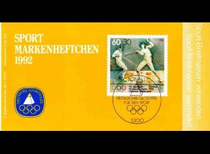Sport 1992 Fechten - Damen-Florett 60 Pf, 6x1592, postfrisch