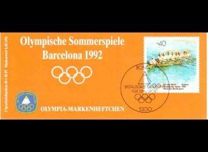 Sport 1992 Rudern - Achter 80 Pf, 6x1593, postfrisch