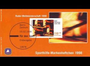 Sport 1998 Rudern & Ruder-WM Köln 110 Pf, 4x1970, postfrisch