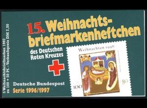 DRK/Weihnachten 1996/97 Christi Geburt 100 Pf, 5x1892 15.MH ESSt Bonn