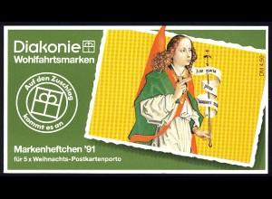Diakonie/Weihnachten 1991 Engel der Verkündigung 60 Pf, 5x1578, postfrisch