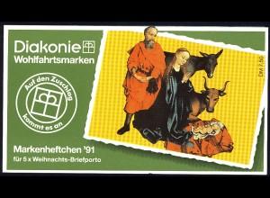 Diakonie/Weihnachten 1991 Geburt Christi 100 Pf, 5x1581, postfrisch