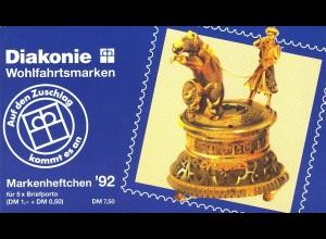 Diakonie/Wohlfahrt 1992 100 Pf. Figurenuhr, 5x1634, postfrisch