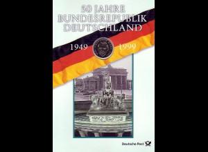 Block 49 Gedenkblatt 50 Jahre Deutschland mit 2-DM-Gedenkmünze Ludwig Erhard