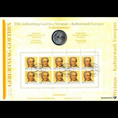 2073 Johann Wolfgang von Goethe - Numisblatt 3/99