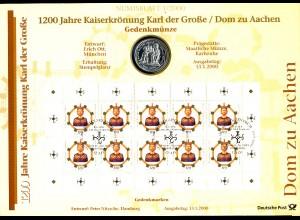2088 Aachener Dom - Numisblatt 1/2000