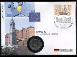 Bund Numisbrief Hamburg St. Michaelis Deutschland - 2 Euro 2008 Prägestäte A