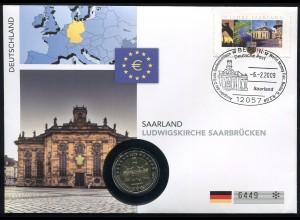 Bund Numisbrief Saarland Ludwigskirche Saarbrücken - 2 Euro 2009 Prägestätte A