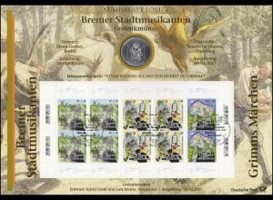 3282-3284 Grimms Märchen: Die Bremer Stadtmusikanten - Numisblatt 1/2017