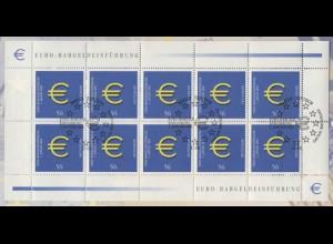 2234 Einführung des Euro - 10er-Bogen auf Kartonvorlage, ESST