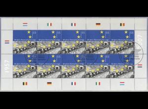 2593 Römische Verträge - 10er-Bogen auf Kartonvorlage ESST
