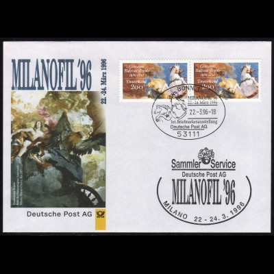 Ausstellungsbeleg Nr. 10 MILANOPHIL Mailand 1996