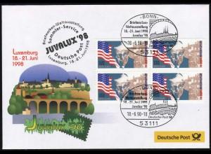 Ausstellungsbeleg Nr. 30 JUVALUX Luxemburg 1998, SSt Bonn 18.6.98