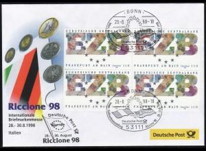 Ausstellungsbeleg Nr. 31 RICCIONE Italien 1998, SSt Bonn 28.8.98