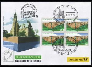 Ausstellungsbeleg Nr. 45 FRIMAERKER Kopenhagen 1999, SSt Bonn 11.11.99