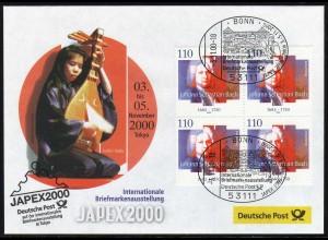 Ausstellungsbeleg Nr. 55 JAPEX Tokyo 2000, SSt Bonn 3.11.00