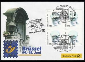 Ausstellungsbeleg Nr. 62 BELGICA Brüssel 2001, mit Angabe der Bild-Quelle