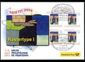 Ausstellungsbeleg Nr. 78 SALON PHILATELIQUE Nantes 2003 mit 2311 Type I