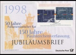 Block 43 Parlamentarischer Rat & Paulskirchenverfassung - Jubiläumsbrief 1998